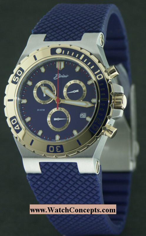 belair men diver wrist watches blue diver chronograph a9930t blu