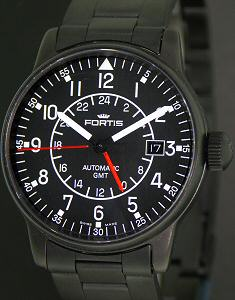Fortis Pilot Flieger Wrist Watches Gmt All Black