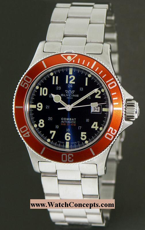 Glycine Combat wrist watches: Combat Sub 20atm Blue/Orange 3863.18ato