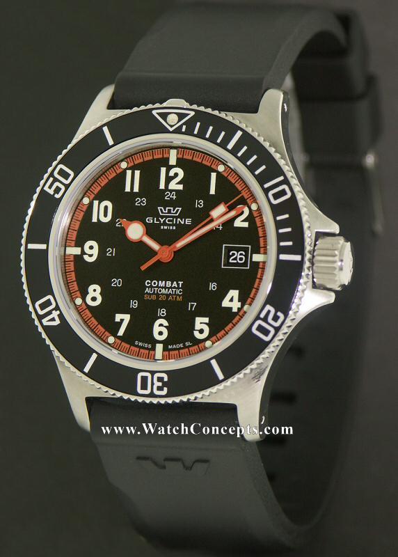 Glycine Combat wrist watches: Combat Sub 20atm Black 3863.19atn