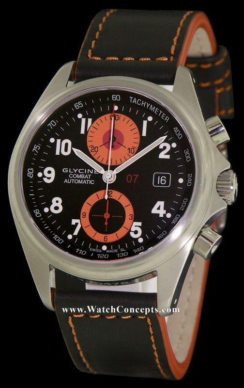 Glycine Combat wrist watches: Combat 07 Chrono Orange Sub 3869-196-lb9