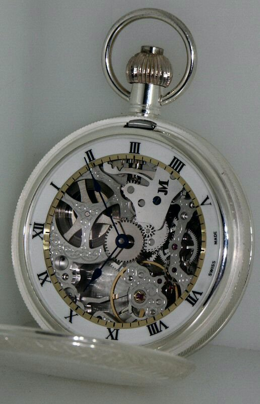 jean marcel pocket watches white skeleton cover