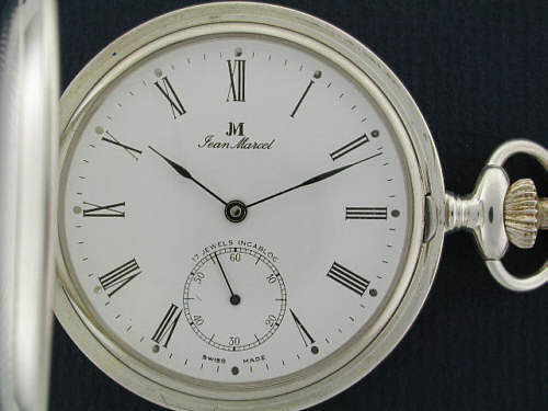 jean marcel pocket watches white sterling silver