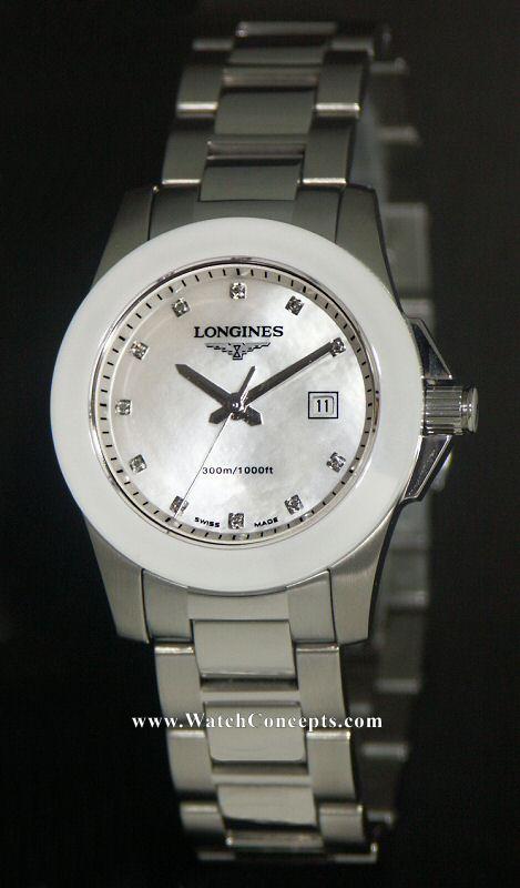 Longines Conquest wrist watches: Conquest Ladies Ceramic Bezel l3.257.
