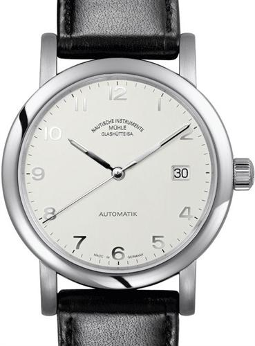 Muhle glashutte classic line wrist watches antaria datum opaline silver m1 39 25 lb for Muhle watches