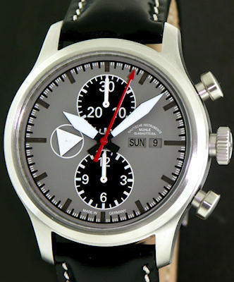 Muhle glashutte terranaut wrist watches camouflage gray dial chrono m1 37 05 lb for Muhle watches