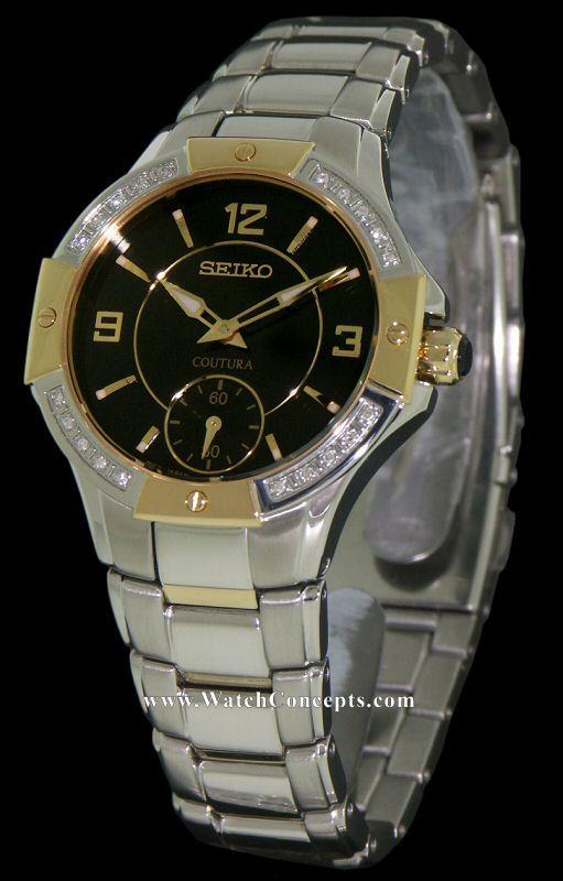 Seiko Coutura wrist watches: Black Dial Yellow Gold Plated srkz90