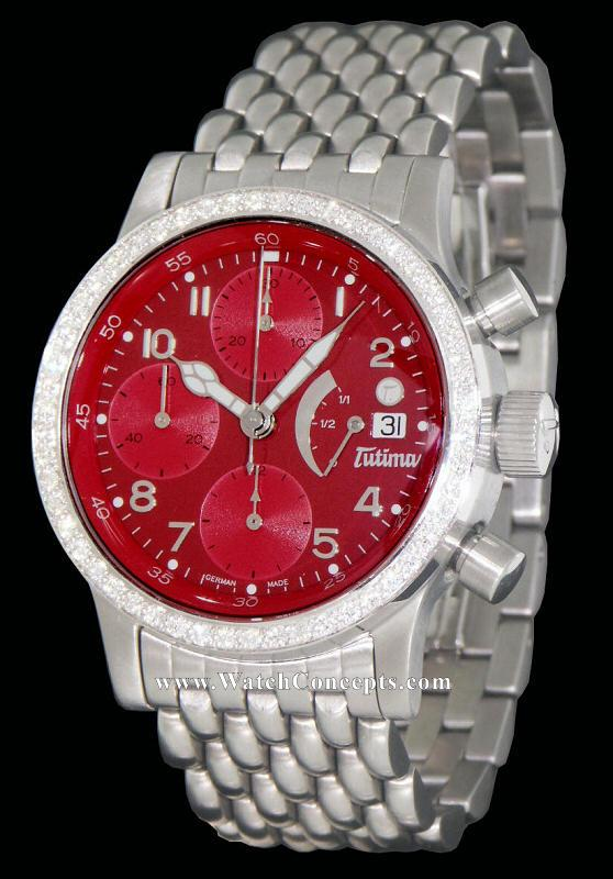 Tutima Flieger wrist watches: Power Reserve Red W/Diamonds 780-82rd