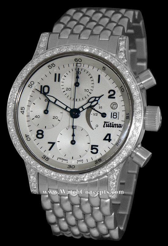 Tutima Flieger wrist watches: Power Reserve White W/Diamonds 780-82d