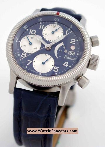 Tutima Flieger wrist watches: F2 Power Reserve Blue 780-83