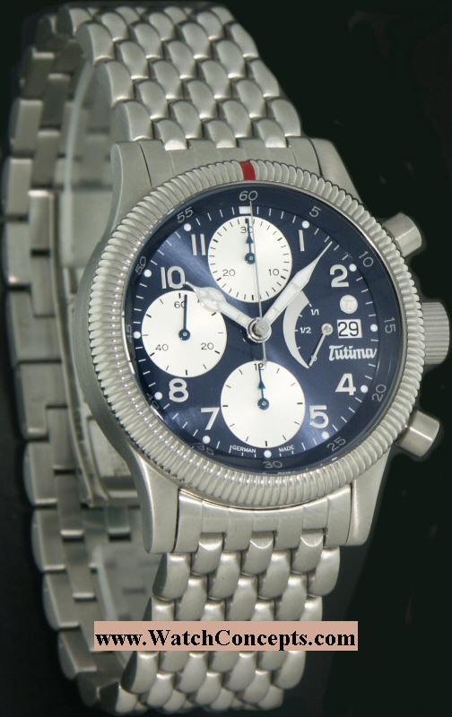 Tutima Flieger wrist watches: F2 Power Reserve Blue 780-84