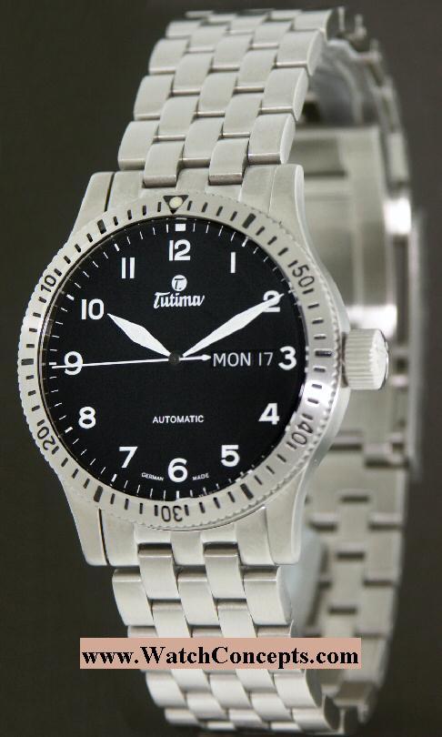Tutima Pilot Fx wrist watches: Pilot Fx Day-Date 60 Min Bezel 631-34
