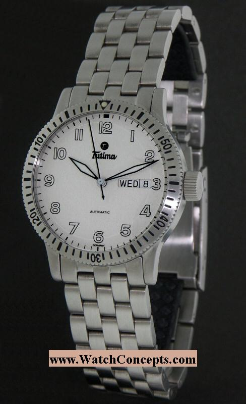 Tutima Factory Refurbished wrist watches: Pilot Fx White Day-Date 631-
